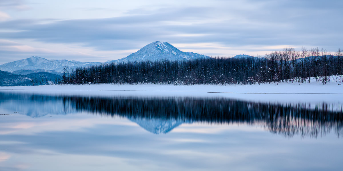 Borlero peak mirrored on lake Plastira - Thessaly